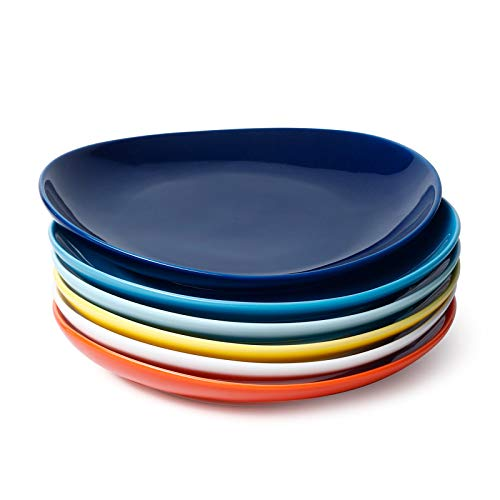 Sweese 151.002 Porcelain Dessert Salad Plates - 7.8 Inch - Set of 6, Hot Assorted Colors