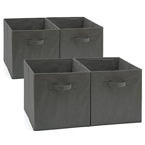 EZOWare Aufbewahrungsbox, 4er-Set Faltbare Aufbewahrungskiste ohne Deckel (33 x 38 x 33 cm) (Grau)