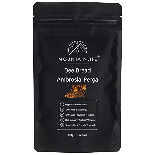 Mountainlife Bee Bread (Ambrosia-Perga) 100g | 100% Wild Harvested in Siberia | Highest Natural Quality | Rich in Amino Acids & Vitamins | Fermented Bee Pollen | Completely Pure & Authentic