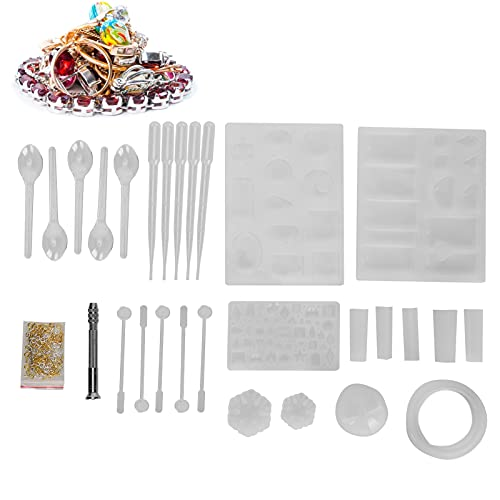 FASJ Resin Molds Kit, Jewelry Silicone Resin Crafts Resin Molds Hand Drill Screw Eye Pin Kit Supplies DIY Craft Mould for Craft Supplies