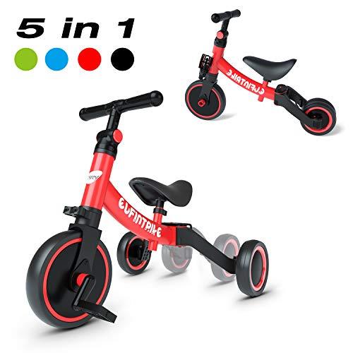 besrey 5 in 1 Laufräder Laufrad Kinderdreirad Dreirad Lauffahrrad Lauflernhilfe für Kinder ab 1 Jahre bis 4 Jahren - Rot