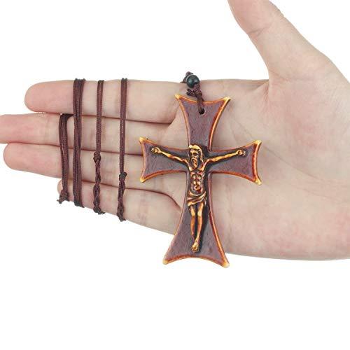 SHOYY Collares con crucifijo católico Jesús para hombres y mujeres con colgante de cruz acrílica roja collares de cuerda ajustable cadenas de joyería decoraciones (Color del metal: collar acrílico)