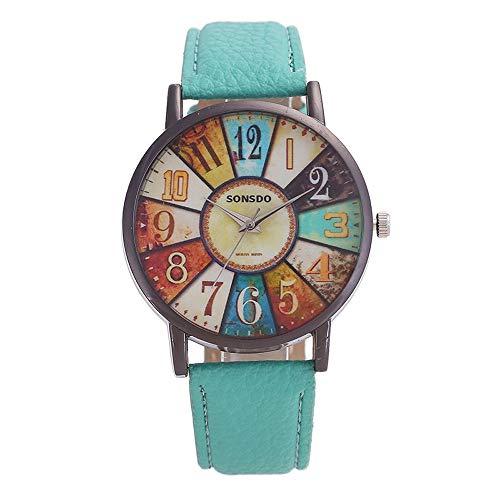 Quarz-Uhren for Frauen, Damenquarz-Uhr, Retro-Persönlichkeit Digital-Plattenspieler PU-Lederband Quarz Bewegungsuhr,Monsteramy (Color : Green)
