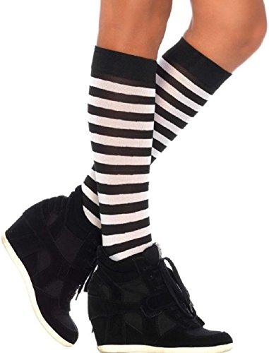 Leg Avenue Damen Kniestrümpfe Schwarz Weiß gestreift Blickdicht Einheitsgröße 36 bis 40