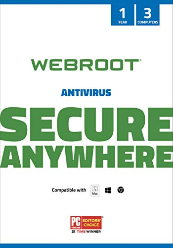 Webroot Antivirus Software 2021 | 3 Device | 1 Year | PC/Mac CD with Keycard | Includes Secure Web Browsing and Malware Protection