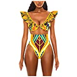 Sasstaids Costume da Bagno Donna Intero Totem Africano Beachwear Spiaggia Mare Vita Alta Bikini Push-Up Mezza Manica Bikini Coordinati Donna Sexy Hot