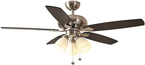 ROCKPORT 52 IN. INDOOR CEILING FAN WITH 3 LED DOWN LIGHTS, BRUSHED NICKEL WITH MATTE BLACK/DARK ENGLISH WALNUT BLADES