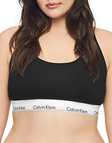 Calvin Klein Women's Polyester & Elastane Non-Wired Bralette Bra (29639810003_Black_Medium)