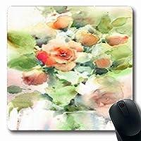 長方形の快適滑り止めマウスパッド丈夫なストローク水彩バラ花花瓶花抽象長方形7.9 X 9.5インチ滑り止めラバー快適滑り止めマウスパッド丈夫なゲーミング快適滑り止めマウスパッド丈夫な