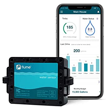 Flume Water Monitor  Smart Home Water Monitoring to Detect Leaks & Track Water Usage in Real Time Compatible with Alexa.