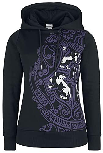 HARRY POTTER Escudo de Hogwarts Mujer Sudadera con Capucha Negro M