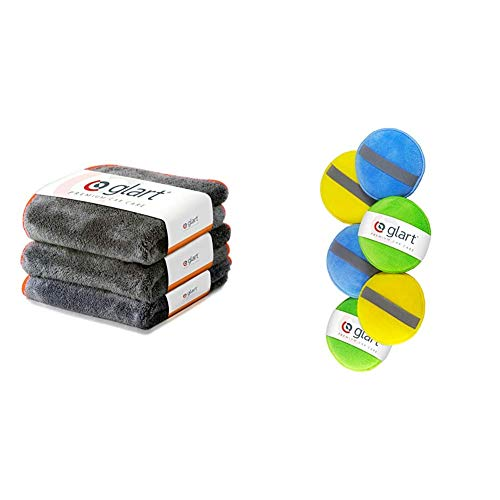 Glart Premium Flausch 3er Set aus ultraweichen Microfasern, anthrazit mit oranger Kante, 40 x 40 cm, 443TPO & 46PP Mikrofaser Handpolierschwamm 6er Set, 130x25 mm, Wax Applikator Pad