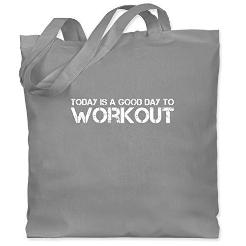 Shirtracer Fitness & Workout - Today is a good day to workout - Unisize - Hellgrau - Motto - WM101 - Stoffbeutel aus Baumwolle Jutebeutel lange Henkel