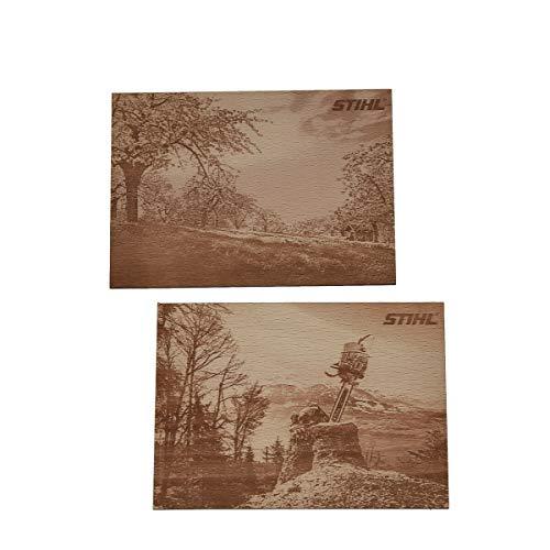 Stihl ansichtkaarten hout 2 stuks 166 x 95 x 3 mm beukenmultiplex