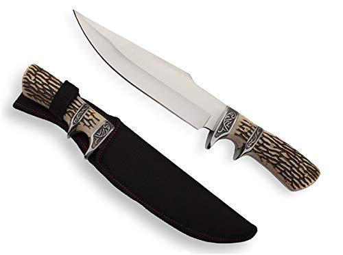 KOSxBO edles Gürtelmesser mit Parierelement - Messer mit Knochenimitation - Robustes Jagdmesser - Outdoormesser Jagd - Arbeitsmesser - Angler Freizeitmesser - Jagdmesser mit Scheide