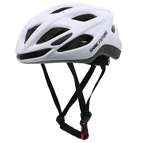 Casco da bici per adulti, casco da bici leggero Casco da bici con luce LED Casco da bici MTB leggero certificato CE CPSC Taglia regolabile (bianca)