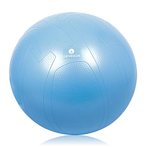 DEVEBOR Exercise Ball for Yoga Balance Fitness Stability Workout Guide, Professional Grade Extra Thick Yoga Ball Chair with Quick Pump, Anti-Burst Heavy Duty Stability Ball (Blue-New, 55cm)…