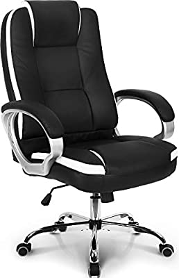 Neo Chair Office Chair Computer Desk Chair Gaming - Ergonomic High Back Cushion Lumbar Support with Wheels Comfortable Black Leather Racing Seat Adjustable Swivel Rolling Home Executive by NEO CHAIR INC.