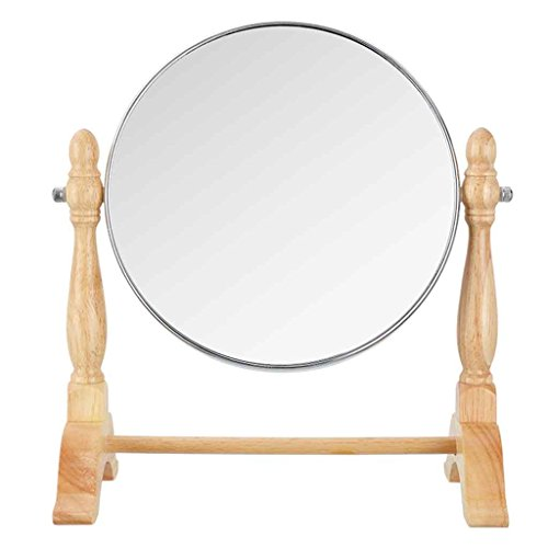 Makeup mirror DBL ny alm basspegel mode kreativ dubbelsidig skrivbord sminkspegel massiv träkonsol (färg: Rund)
