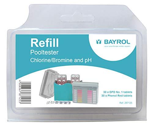 BAYROL Tabletten Nachfüllpackung für manuellen Pooltester pH/Cl oder pH/Br - 2 x 30 Tabletten Phenol Red und DPD No. 1 - pH-Wert und freies Chlor oder Brom