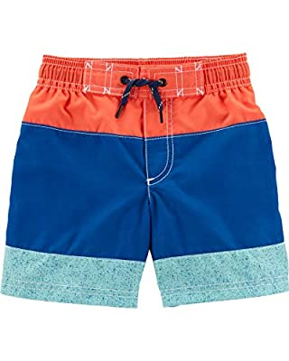 Carter's Boys' Baby Swim Trunk, Orange/Blue Stripe, 6 Months