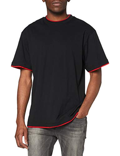 Urban Classics - T-Shirt Manches Longues Homme, Multicolore (Black/Red), XXXX-Large