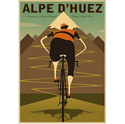 Alpe Mountain Bike Ride Retro Canvas Poster Wall Painting Picture Print For Living Room Bedroom Home Decor 50x70 cm(19.68x27.55 in) Q-141