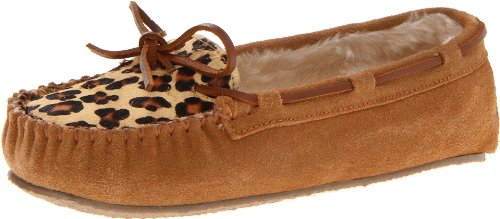Minnetonka Women's Leopard Cally Slipper Moccasin,Cinnamon,5 M US