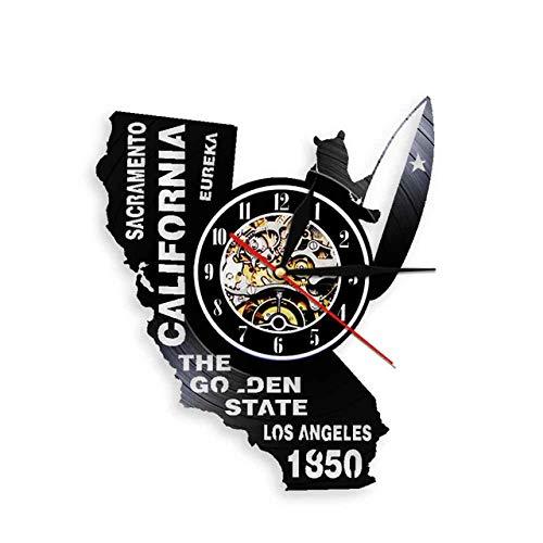 Eureka The Golden State California State Home Wall Clock Sacramento Los Angeles Vinyl Record Wall Clock USA Travel Souvenir Gift