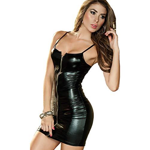 GFFEI Damen Nachtwäsche Nachtkleid Nachthemd Spitze Babydoll Dessous Reizwäsche Set Sleepwear Kleid mit große größen,Schwarz,XS