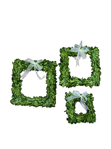 Mills Floral Boxwood Square Wreath Set with Ribbon
