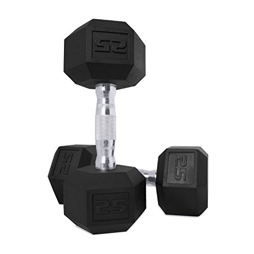 CAP Barbell SDPP-050 Color Coated Hex Dumbbell, Black, 25 pound, Pair