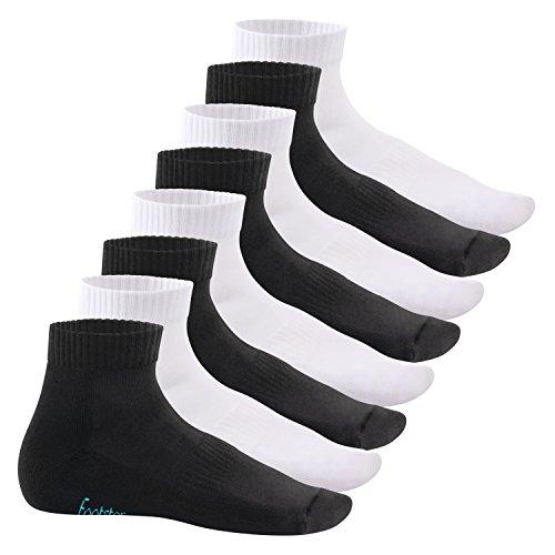 Footstar Damen und Herren Kurzschaft Socken mit Frottee-Sohle (8 Paar) - Sneak it! - Schwarz-Weiß-Mix 47-50