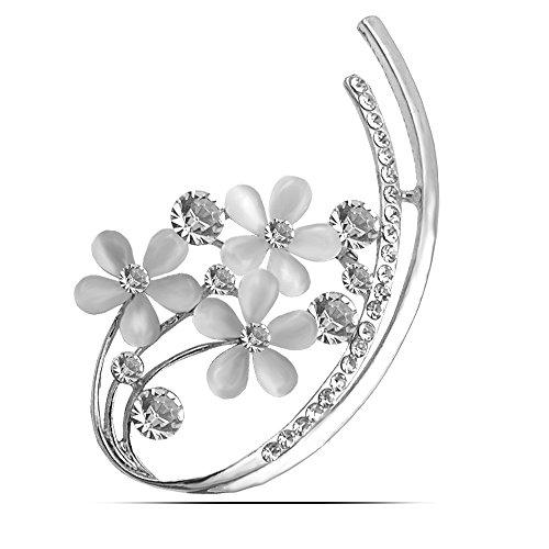 CHZDSB Brosche Opal Blume Broschen Für Frauen Strass Set In Elegante Brosche Pins Sommerkleid Zubehör Gutes GeschenkSilber Farbe