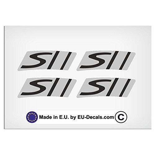 EU-Decals - MioVespa Collection 2018 Stile 4X Cerchio S Decalcomania Grigio su Nero per Vespa GTS 300 Super Sport Adesivi Laminato