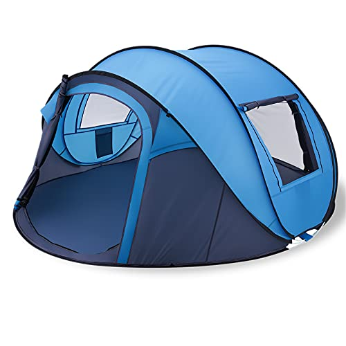 Lovinouse 2021 Upgraded 5-8 Person Pop up Camping Tent, Waterproof Double Layer Lightweight Dome Tents, with Doors Windows for Hiking Beach (Blue)