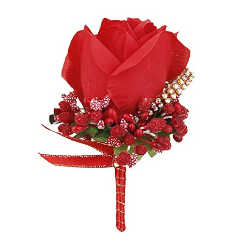 Bruiloft Bruids Groom Bling Strass Boutonniere Zijden Doek Rose Bloem Corsage - Licht Paars Rood