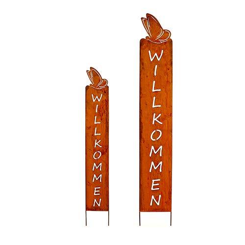 Gartenstele 'Willkommen'; Metall, Rost; 100 cm; Beetstecker; Blumenstecker, Gartenstecker