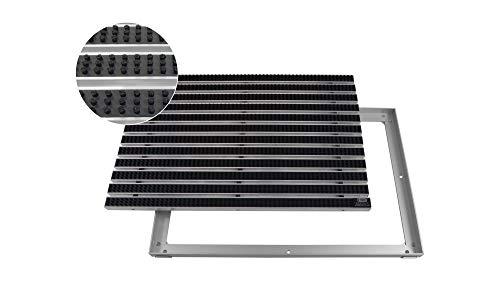 EMCO Eingangsmatte DIPLOMAT Bürsten schwarz 22mm + ALU Rahmen Schmutzfangmatte Fußabtreter Antirutschmatte, Größe:600 x 400 mm