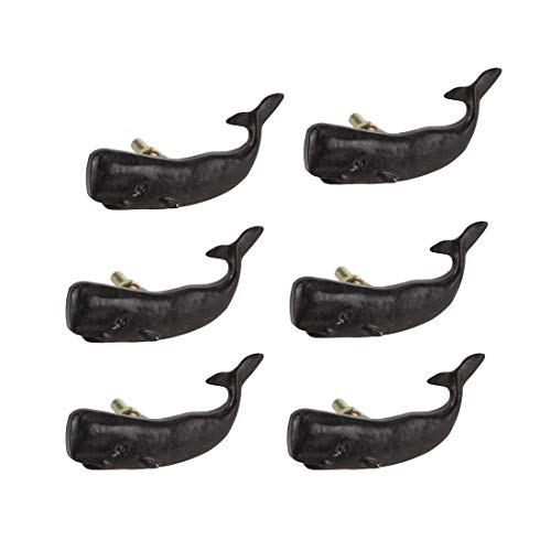 Moby Dick Specialties Set of 6 Black Painted Cast Iron Whale Drawer...