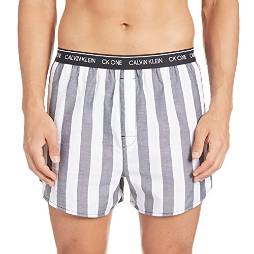 Calvin Klein Herren Slim Fit Boxer 3pk Boxershorts, Schwarz (Level Stripe/Black/Field Plaid Les), Large