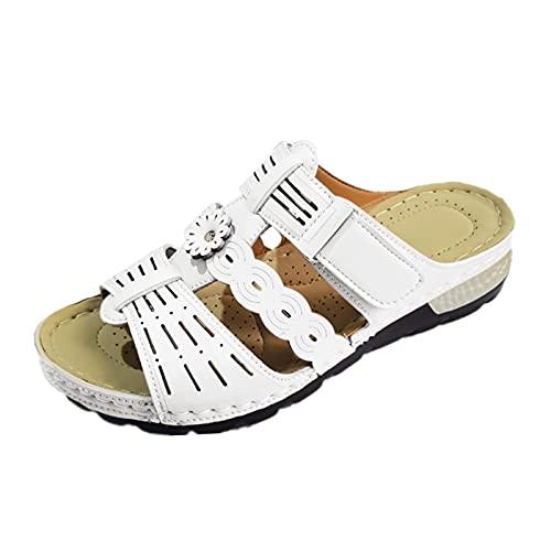 Sandales Compensees Femme été Mules PU Utilité Professionnelle Uniforme Shoes Sandal Slipper Boot Chantiers et Industrie Autre Animal Print RandonnéE Autre Mules Transparentes(Blanc,39)