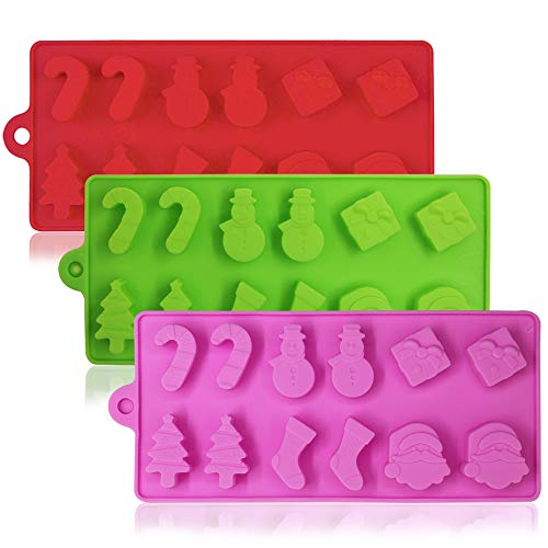 3 Pack Silicone Christmas Candy Molds, YuCool Cake Chocolate Jelly Baking Trays Pan for Party Decoration, Xmas Gift,with Shape of Christmas Tree, Santa Head - Red,Green,Pink