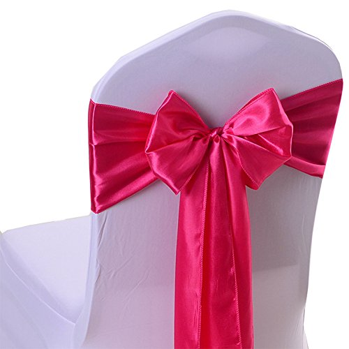 iEventStar Satin Sash Chair Bow Cover Wedding Banquet Party Decoration (10, Fuchsia)