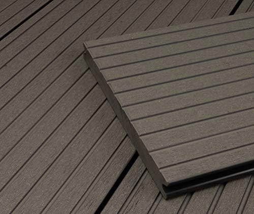 HORI® WPC-Terrassendiele Grau XXL Massivdiele I Komplettset inkl. 40x60 mm Unterkonstruktion & Clips I Fläche: 1 Muster I Muster Dielenlänge