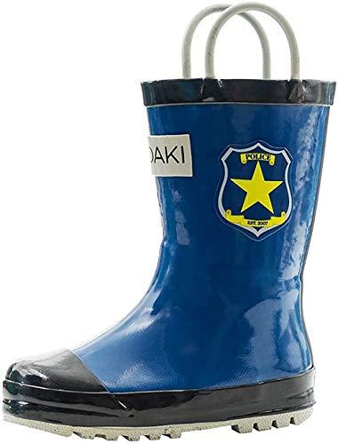 DADAWEN Boy's Girl's Waterproof Outdoor Combat Lace-Up Side Zipper Mid Calf Boots Black US Size 12 M Little Kid