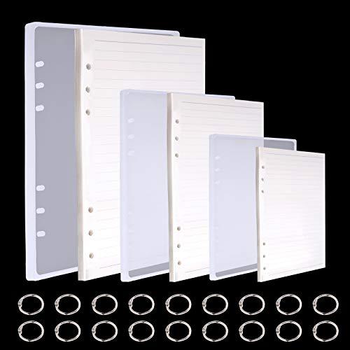 Jodsen 3 Stück Notebook Form Harzgussformen, A5 A6 A7 Notebook Silikon Epoxidharz Formwerkzeug-Set, 18 Stück Buchringe, DIY Craft Making