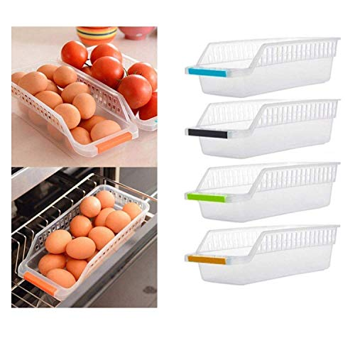 (4 Pack) Pantry and Refrigerator Organizer Bins for Kitchen and Cabinet Storage | Stackable Food Bins, Model SM-37 Multicolor