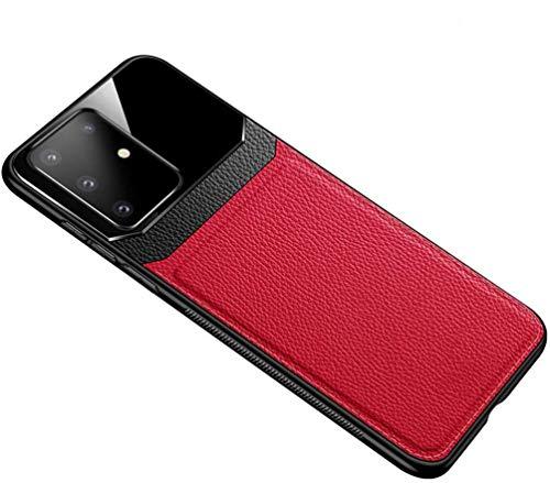 Case voor Samsung Galaxy S20 / S20Plus / S20Ultra Business Leather Premium telefoonhoes Draadloos opladen Compatibel leer Ultradunne spiegel Gehard glas Achterkant,Red,for Samsung S20 Ultar