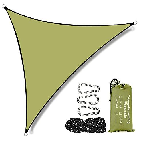 Punvot Toldo parasol de poliéster, toldo parasol para jardín, balcón, triangular, resistente al agua y al viento, con...